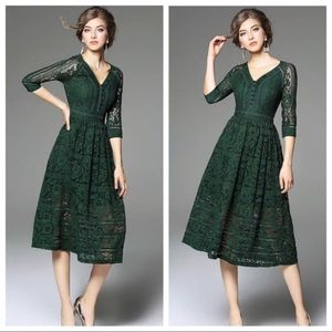 Metisu green v-neck party dress - medium